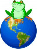 image of save earth  - Frog sits on Earth at the Earth Day - JPG