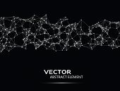stock photo of cybernetics  - Vector abstract cybernetic particles on black background - JPG