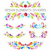 stock photo of divider  - Colored dividers set - JPG