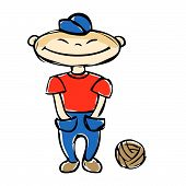 stock photo of ball cap  - Teenage boy in blue trousers and a red shirt standing on two legs near a soccer ball - JPG