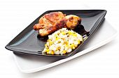 image of roast chicken  - chicken and rice mixed with peas and sweetcorn isolated on a white background - JPG