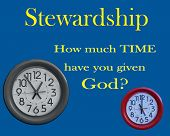 pic of stewardship  - clocks on background with time stewardship message - JPG