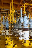 stock photo of oil drilling rig  - Oil and gas production slot on the platform - JPG