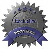 stock photo of exclusive  - This platinum seal with five stars declaring  - JPG