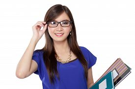 picture of librarian  - Beautiful young Asian librarian lady in dark - JPG