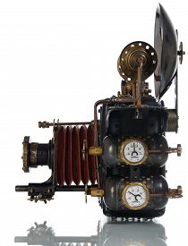 stock photo of steampunk  - Photo camera on a white background - JPG