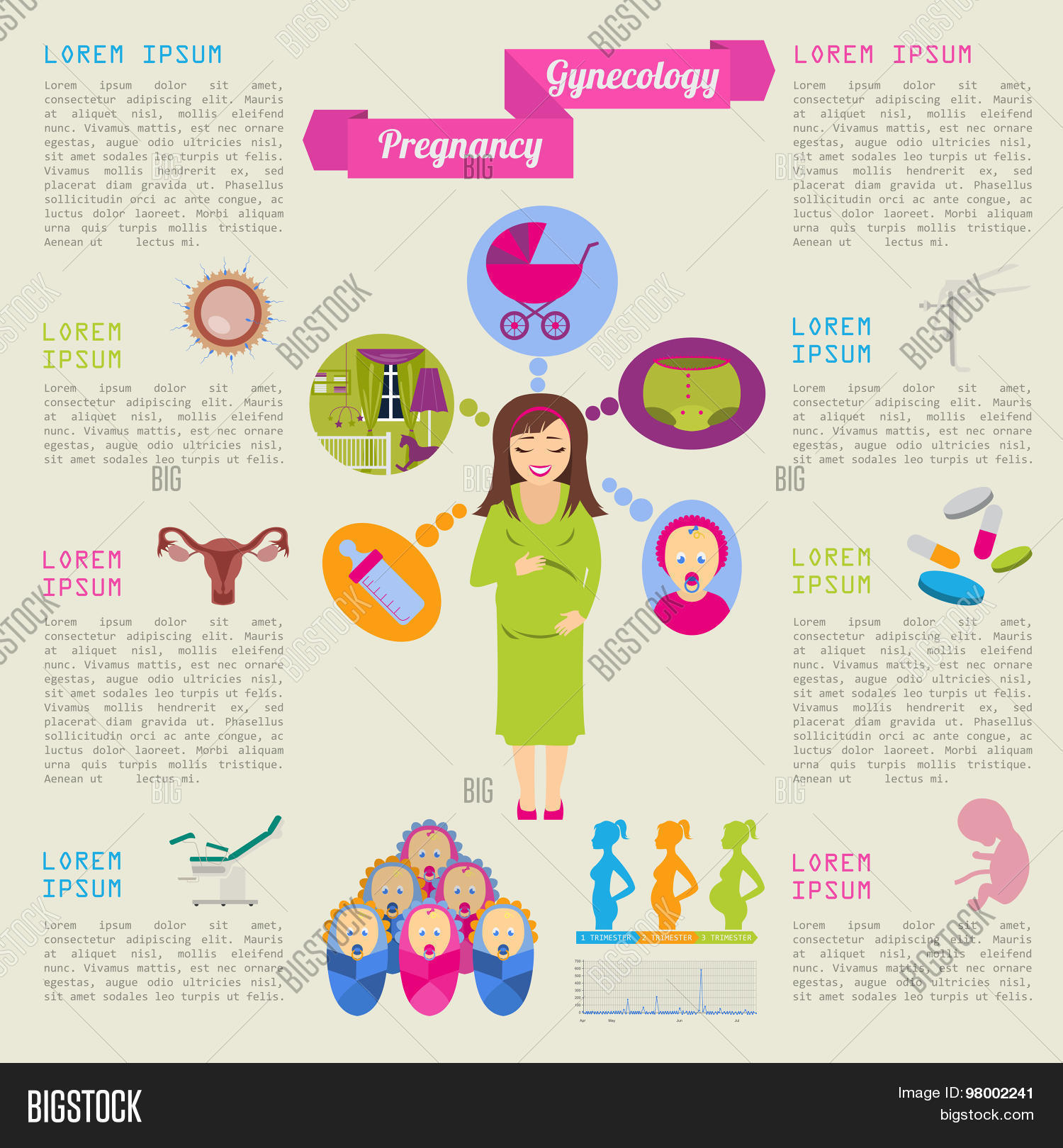 Gynecology and pregnancy infographic template. Motherhood ...