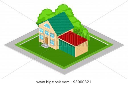 Isometric House with Garage