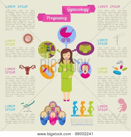 Gynecology and pregnancy infographic template. Motherhood elements