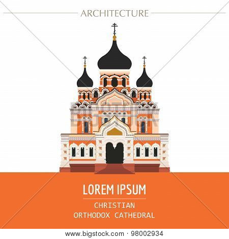 Cityscape graphic template. Modern city architecture. Vector illustration of christian orthodox