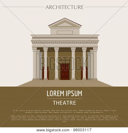 Cityscape graphic template. Modern city architecture. Vector illustration of theatre, museum