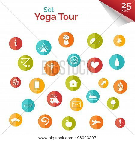 Set of flat icons for yoga studio.