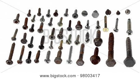 Set Of Old Metal Screws And Self-tapping Screws Of The Different Size And Look