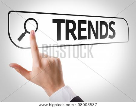 Trends written in search bar on virtual screen