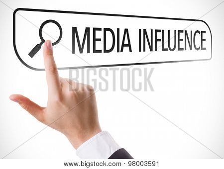 Media Influence written in search bar on virtual screen
