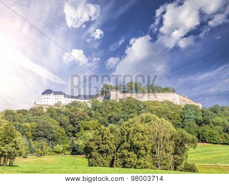 Summer Landscape With Fortress Koenigstein, Germany.