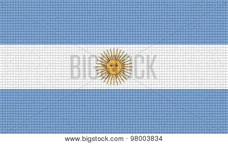 Flags Of Argentina With Abstract Textures. Rasterized