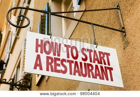 How to Start a Restaurant sign in a conceptual image