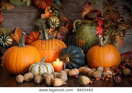 Still Life Harvest  Decoration For Thanksgiving