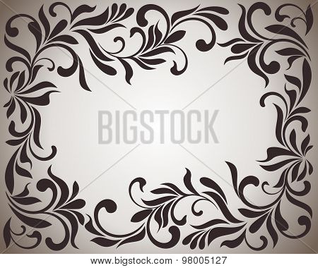 Frame With Swirls And Floral Motifs In Retro Style