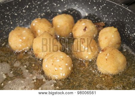 Fry Of Balls Of Salmon