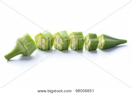 Fresh Okra Isolated On White