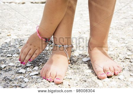 Little Girls Feet With Summer Asseccories