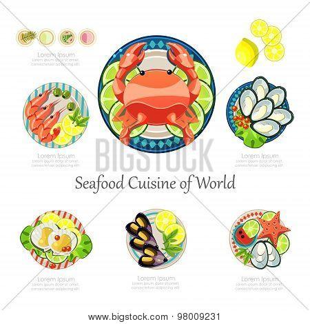 Seafood design set. Infographic food business seafood  idea