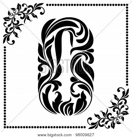 Decorative Font With Swirls And Floral Elements. Ornate Decorated Digit Zero On White Background.