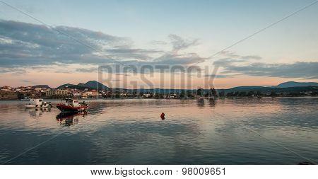 Fishing Boats In The Bay Near Methoni, Peloponnese, Greece