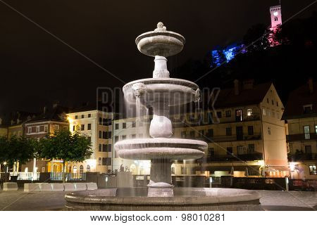 Fountain at night.