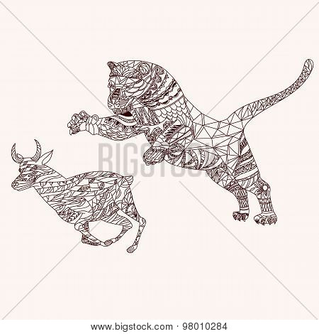 Tiger and antelope