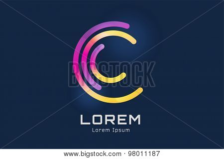 Vector c logo template. Abstract circle shape and symbol, icon or creative dea, copyright, flow. Stock illustration. Isolated on white background
