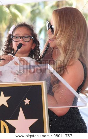 , LOS ANGELES - AUG 5:  Mariah Carey, Monroe Cannon at the Mariah Carey Hollywood Walk of Fame Ceremony at the W Hollywood on August 5, 2015 in Los Angeles, CA