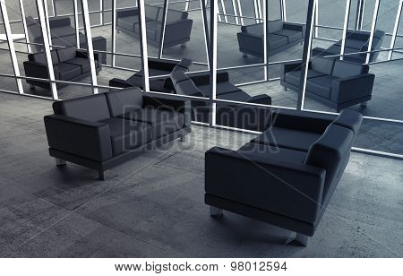 Abstract Surreal Office Interior With Black Sofas