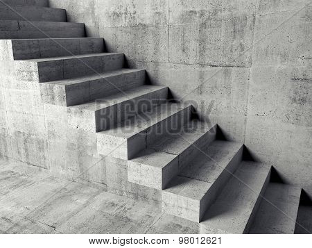 Cantilevered Stairs On The Wall, 3D Illustration