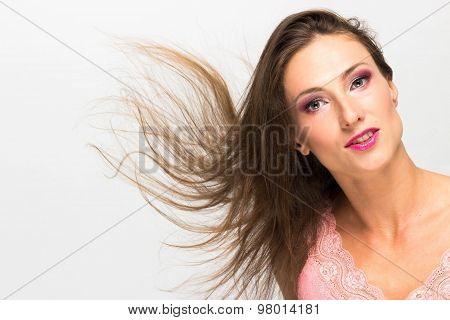 Beautiful Sexy Girl With Streaming Hair, Isolated
