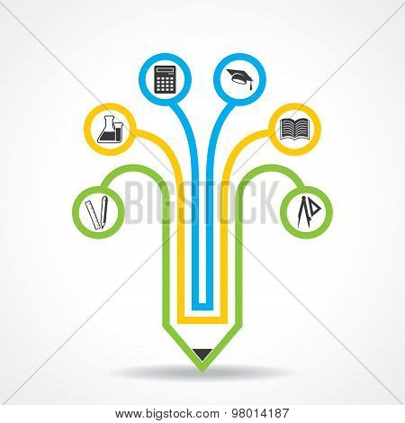 Set of education icons with pencil stock vector