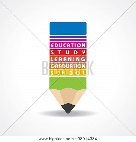 educational concept - Pencil  with education text stock vector