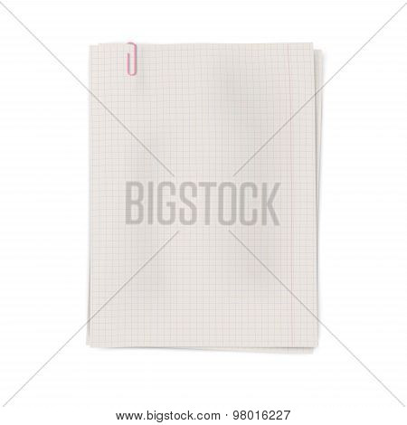 Clipped Pile Of Squared Sheets Of Notebook Paper Isolated On White Background