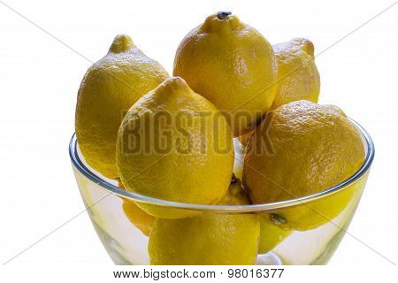 Lemons In A Clear Glass Vase
