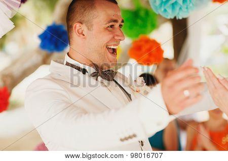 Beautiful  Gorgeous Stylish Groom, Hawai Colorful Ceremony On Cyprus