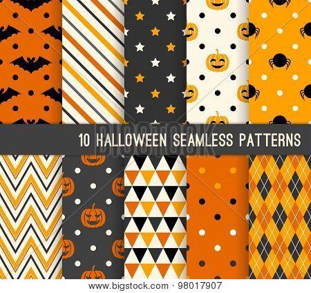 Ten Halloween Different Seamless Patterns.