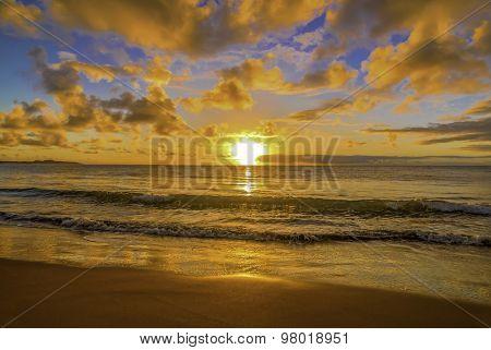 Beautiful tropical sunset on Australian beach
