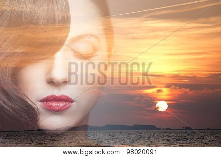 Double Exposure Of Beauty Young Woman Dreaming.
