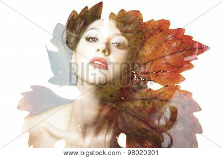 Double Exposure Of Beautiful Caucasian Woman.