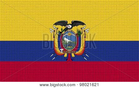 Flags Ecuador With Abstract Textures. Rasterized