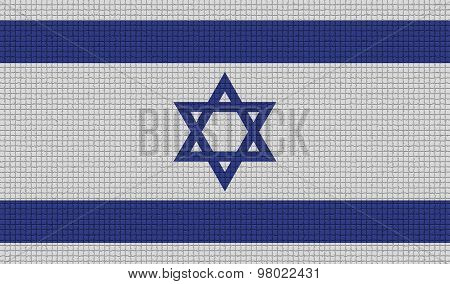 Flags Israel With Abstract Textures. Rasterized