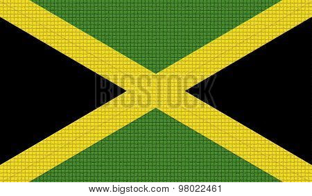 Flags Jamaica With Abstract Textures. Rasterized