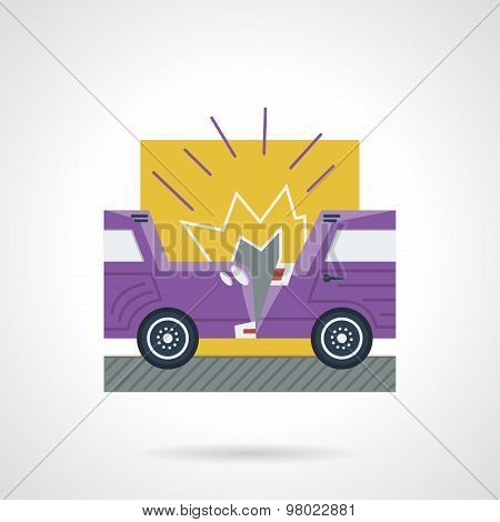 Flat color vector icon for car crash